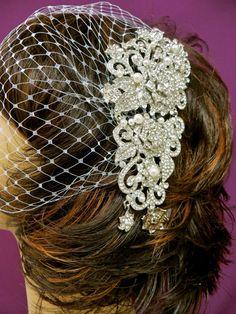 Bandeau Birdcage Veil, Wedding Blusher Veil, Bridal Rhinestone Pearl Applique Veil
