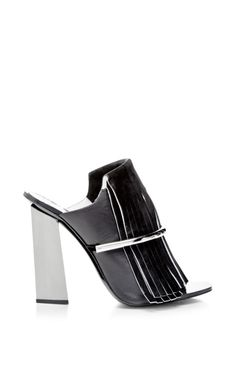Black Fringe Mule With Nickle Heel by Proenza Schouler for Preorder on Moda Operandi