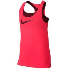 Help your mini athlete achieve the WTA pro look by giving her the Nike Girls' Breathe 2-in-1 Cami Tank in Light Fusion Red. This versatile tank features a snug and supportive built-in bra, racerback straps, and dropped hem for the ultimate in athletic performance. Nike's exclusive sweat managing Dri-Fit material actually pulls sweat from the skin.
