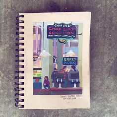 I really needed a break from work. I decided to go chill at Grand Central Market #illustration #pleinair #grandcentralmarket #people #gouache #travel #food