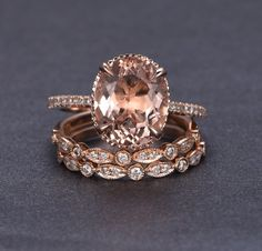 Limited Time Sale 2 carat Morganite and Diamond Trio Ring Set in 10k Rose Gold with One Engagement Ring and 2 Wedding Bands by JeenMata on Etsy https://www.etsy.com/listing/485135342/limited-time-sale-2-carat-morganite-and