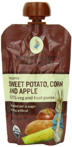 Peter Rabbit Organics, Sweet Potato, Corn and Apple Puree, 4.4-Ounce Pouches (Pack of 10) 100% Vegetables and Fruit