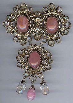 Schreiner New York Huge Vintage Pink Glass & Rhinestone Dangles Pin
