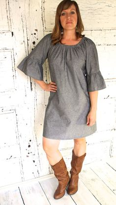 Gray Chambray Linen Look Women's Peasant Dress/ by Gogreenstyle, $62.00