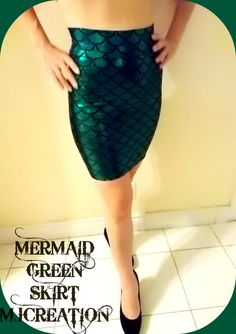 mermaid skirt fish scales green BODYCON  mjcreation CUSTOM made to order