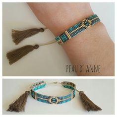 petite manchette tissée de fines perles miyuki : Bracelet par peaud-anne: