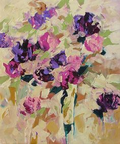 Original Abstract Floral Painting Impressionist Art Purple Roses Flowers Landscape Acrylic Painting on Canvas by Linda Monfort