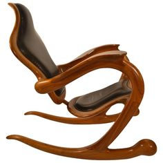 Organic Modern Rocking Chair Signed Sterling Johnson King   From a unique collection of antique and modern rocking chairs at https://www.1stdibs.com/furniture/seating/rocking-chairs/