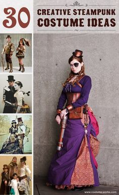 Steampunk costumes represent the period of time when society was steam-powered. Here is a gallery of amazing homemade Steampunk Costume Ideas for women, men, couples, families and kids.