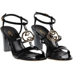 Gucci Black Leather High-Heeled Sandals (815 CAD) ❤ liked on Polyvore featuring shoes, sandals, heels, black leather shoes, ankle strap heel sandals, black heel sandals, black embellished sandals and ankle wrap sandals
