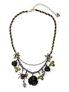 Rose Charm Necklace  by Betsey Johnson