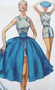 One-piece Playsuit, skirt, and cummerbund for 1950's Pool Party.