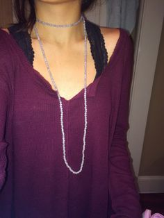 Double Wrap Half and Half Long Beaded Necklace by hkjewlery