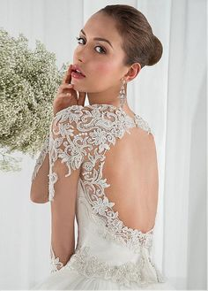 Buy discount Elegant Tulle Sweetheart Neckline Dropped Waistline A-line Wedding Dress With Beaded Lace Appliques at Dressilyme.com