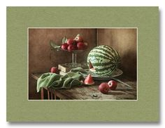 Apples And Watermelon - Apples and other fruits - Still life photography with apples and fruits -  http://pixels.com/profiles/nikolay-panov.html?tab=artworkgalleries&artworkgalleryid=717173