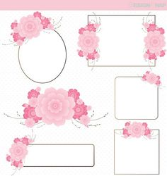 Flower Frame Clip Art, Cherry Blossom Digital Clipart, Digital Download, Clipart Borders, Graphics, Light Pink Floral Frames - 1 Zip folder.