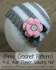 FREE crochet pattern for a 4-12 Year Flower Slouchy Hat by Cream Of The Crop Crochet.