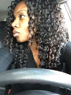 Self-installed crochet braids. Deep twist style hair by Freetress