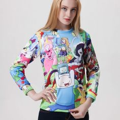 Womens Adventure Time Tracksuits Digital Printing Sport Hoody 2015 Fall Winter 3D Cartoon Images Printed Sweatshirts Hoodies-in Hoodies & Sweatshirts from Women's Clothing & Accessories on Aliexpress.com | Alibaba Group