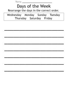 Days of the week worksheet. Give a like!