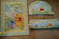 Winnie The Pooh, Eeyore, Piglet Crib Baby Comforter Blanket. x Blue with yellow boarder and accents. Good pre-owned condition. Organic Baby Clothes, Unisex Baby Clothes, Winnie The Pooh Blanket, Newborn Tieback, Baby Comforter, Crib Blanket, Eeyore, Boho Baby, Newborn Gifts