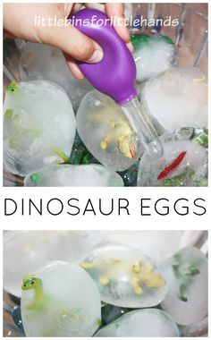 Easy to make frozen dinosaur eggs for ice melt science and sensory play. Frozen dinosaur eggs are simple to set up and provide hours of play and learning! Sensory Activities, Sensory Play, Toddler Activities, Sensory Table, Sensory Bins, Dinosaur Party Activities, Vocabulary Activities, Animal Activities, Class Activities