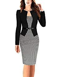 Babyonline Women Colorblock Wear to Work Business Party Bodycon One-Piece Dress - Black+houndstoothl XX-Large Plus Size Maxi Dresses, Short Sleeve Dresses, Dresses For Work, Long Sleeve, Fall Dresses, Casual Dresses, Robe Swing, Swing Dress, Black Pencil Dress