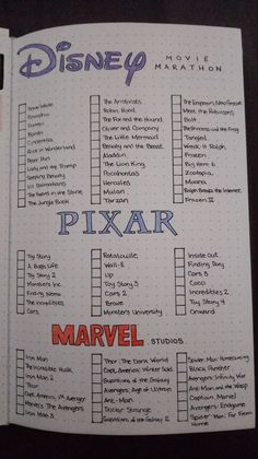 Compiled a small list of Disney, Pixar, and Marvel movies.