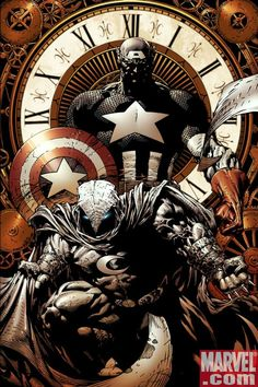 Moon Knight and Captain America by David Finch