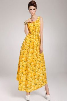 LUCLUC Yellow Fruit Printed Scoop Maxi Dress