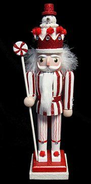 Peppermint Twist Decorative Wooden Christmas Nutcracker with Snowman Crown