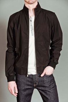 JackThreads - Washed Cotton Bomber Jacket Black