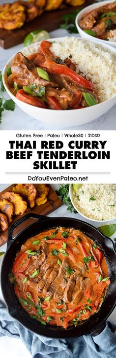 quick Thai Red Curry Beef Tenderloin Skillet recipe makes a spicy little weeknight dinner. Pair this veggie-filled curry with cauliflower rice or tostones for a complete healthy meal! Plus this recipe is gluten free paleo and friendly! Curry Recipes, Paleo Recipes, Asian Recipes, Real Food Recipes, Cooking Recipes, Sausage Recipes, Thai Recipes, Potato Recipes, Fish Recipes