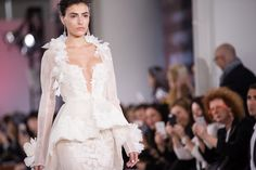 Long Sleeve Peplum Gown by Ines de Santo for Spring 2017 Bridal Fashion Week Photo by Jessica Haley
