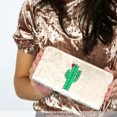 A beautiful Yehwang velvet look wallet with cactus patch
