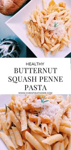 Butternut Squash Penne Pasta. Delicious, creamy, sweet and healthy. This vegetarian pasta dish is great for dinner or lunch. #pasta #butternutsquash #dinner #vegetarian