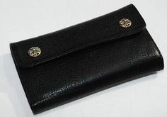 Mens Chrome hearts Wave Cross Button Black Leather Wallet