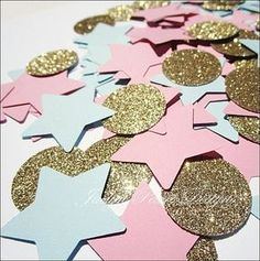 Baby showers and gender reveal parties will sparkle in a Twinkle Little Star confetti mix in pink and blue. Select your choice of gold or silver glitter for a glam cake or reception table display. Fab