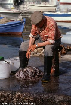 Greek fisherman with octopus in a fishing line in Mykonos, Greece Sea Captain, Guache, Fishing Villages, Beautiful Islands, Greek Islands, People Around The World, Fishing Boats, Belle Photo, Great Photos