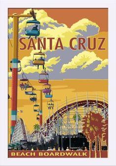 Santa Cruz, California - Beach Boardwalk - Lantern Press Artwork (16x24 Giclee Art Print, Gallery Framed, White Wood), Multi