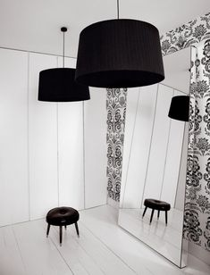 Funky wallpaper and BIG black lamps
