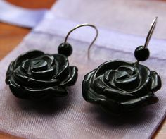 Black Rose Earrings  Agate and Sterling Silver by BamalamCreations, £10.00