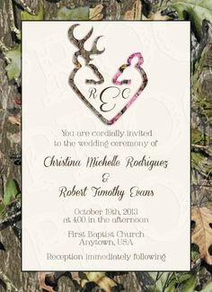Camo Deer Hearts Wedding Invitation and RSVP Card by MrsPrint