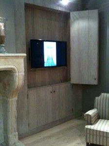 wegwerken tv; kan ook met klapschilderij op canvas in stevige houten lijst