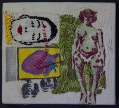 Vitor Novato Gestação 16 x 14,5 cm Xilogravura, pintura e bordado sobre tecido.