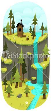 Rustic Cliffs Royalty Free Stock Vector Art Illustration
