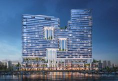 Images revealed for Foster + Partner's hotel and residential project on Dubai Canal Futuristic Architecture, Facade Architecture, Business Architecture, Apartments In Dubai, Dorchester Collection, Most Luxurious Hotels, Dubai City, Facade Design, Foster Partners