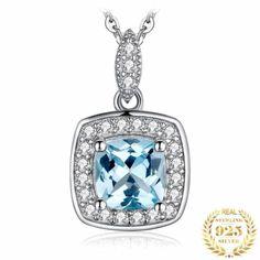 Pendants Blue Topaz Silver ARISTOCRATIC Blue Topaz Necklace, Gemstone Necklace, Crystal Earrings, Pendant Necklace, Gemstone Pendants, Topaz Earrings, Gemstone Bracelets, Sapphire Gemstone, Cheap Necklaces