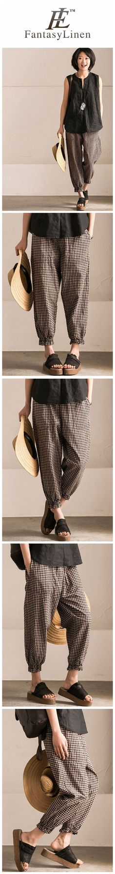 Art Casual Black White Grid Pants Cotton Women Clothes Clothes will not shrink,loose Cotton fabric, soft to the touch.*Material: Cotton colour*Model size: Height/Weight: 169 cm kg Linen Trousers, Pants For Women, Clothes For Women, Fashion Outfits, Womens Fashion, Latest Fashion, Fashion Trends, Mode Inspiration, Clothing Patterns
