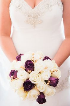 Ivory and dark purple real natural touch feel by TheBridalFlower